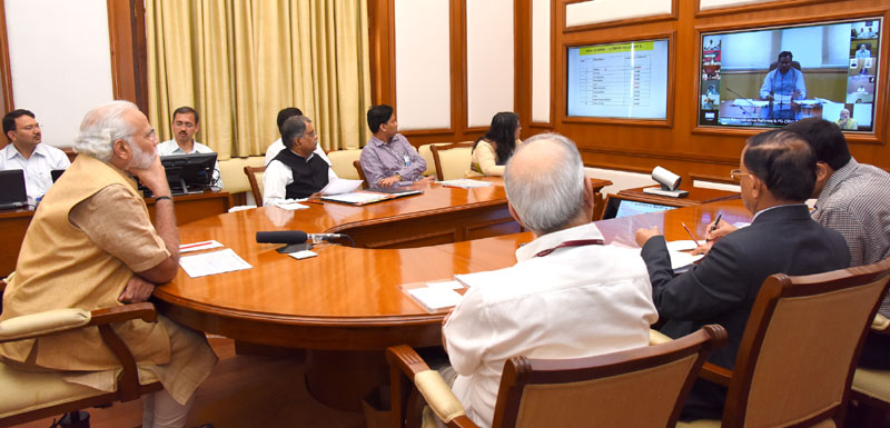 The Prime Minister, Shri Narendra Modi chairing eleventh interaction through PRAGATI - the ICT-based, multi-modal platform for Pro-Active Governance and Timely Implementation, in New Delhi on March 23, 2016.