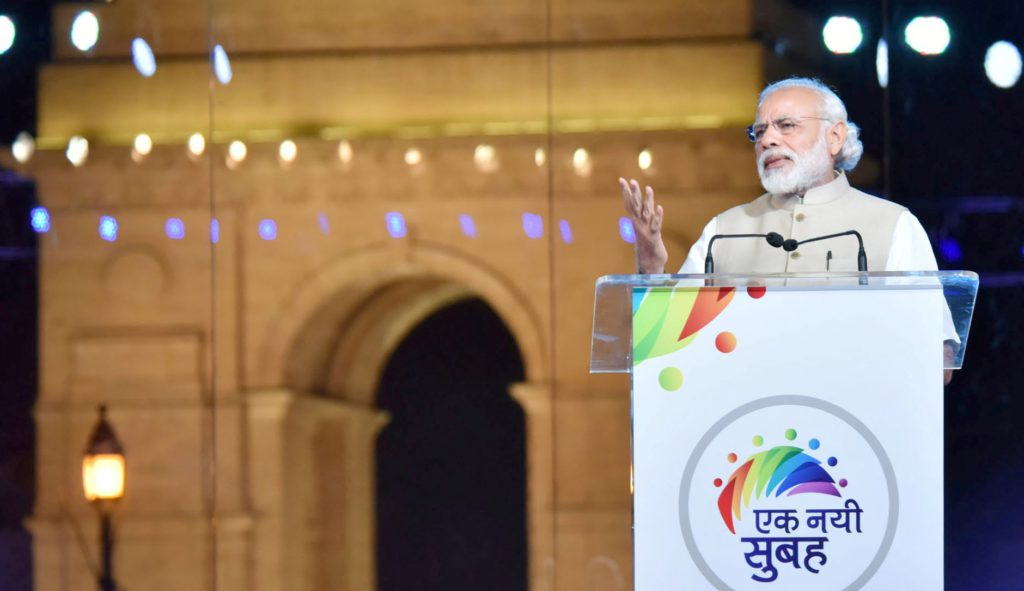 The Prime Minister, Shri Narendra Modi addressing the Ek Nayi Subah event, on the completion of two years NDA government, at India Gate, in New Delhi on May 28, 2016.