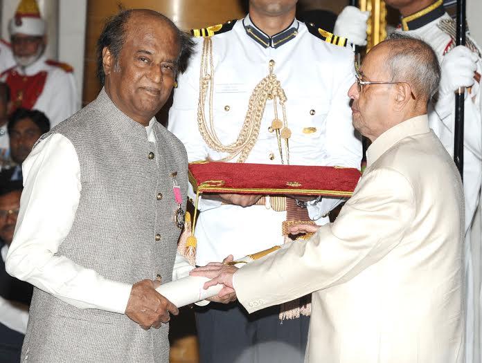 The President, Shri Pranab Mukherjee presenting the Padma Vibhushan Award to Shri Rajinikanth, at a Civil Investiture Ceremony, at Rashtrapati Bhavan, in New Delhi on April 12, 2016.