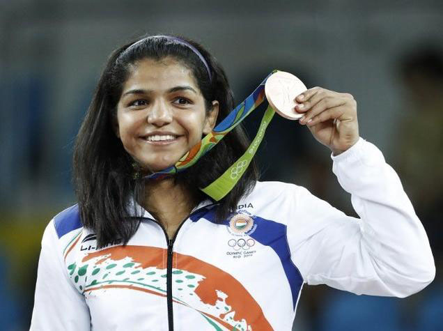 Ms. Sakshi Malik, wrestler of Indian Railways, India, won bronze medal in Women's 58 kg category, at the Rio Olympic Games-2016, Brazil on August 18, 2016.