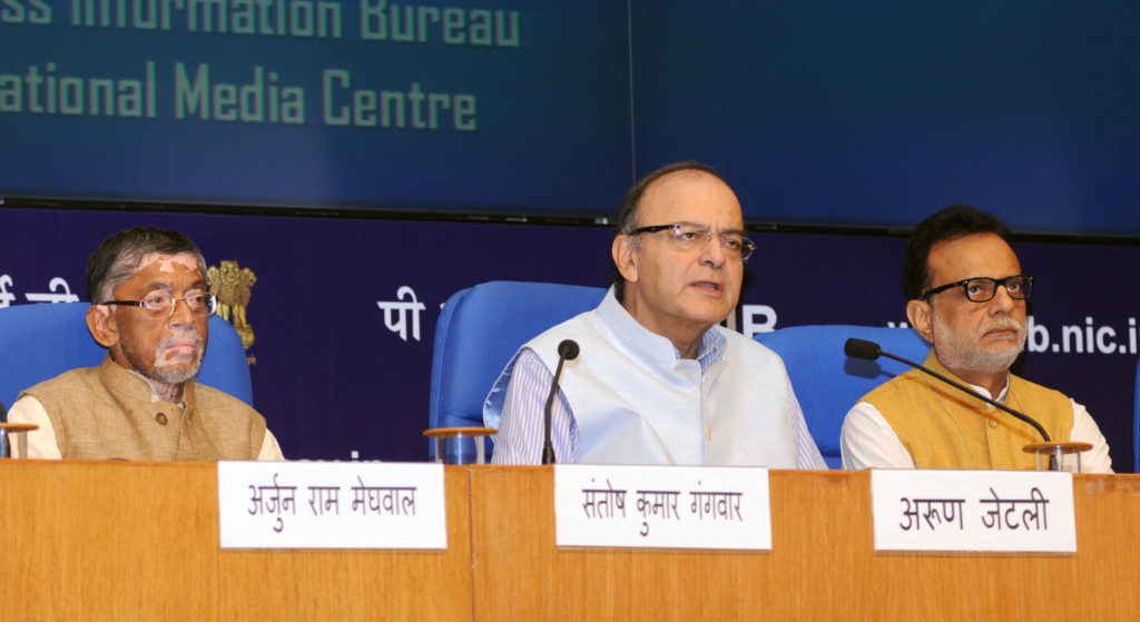 The Union Minister for Finance and Corporate Affairs, Shri Arun Jaitley holding a Press Conference on the Goods and Services Tax (GST), in New Delhi on August 04, 2016. The Minister of State for Finance, Shri Santosh Kumar Gangwar and the Secretary, Revenue, Dr. Hasmukh Adhia are also seen.