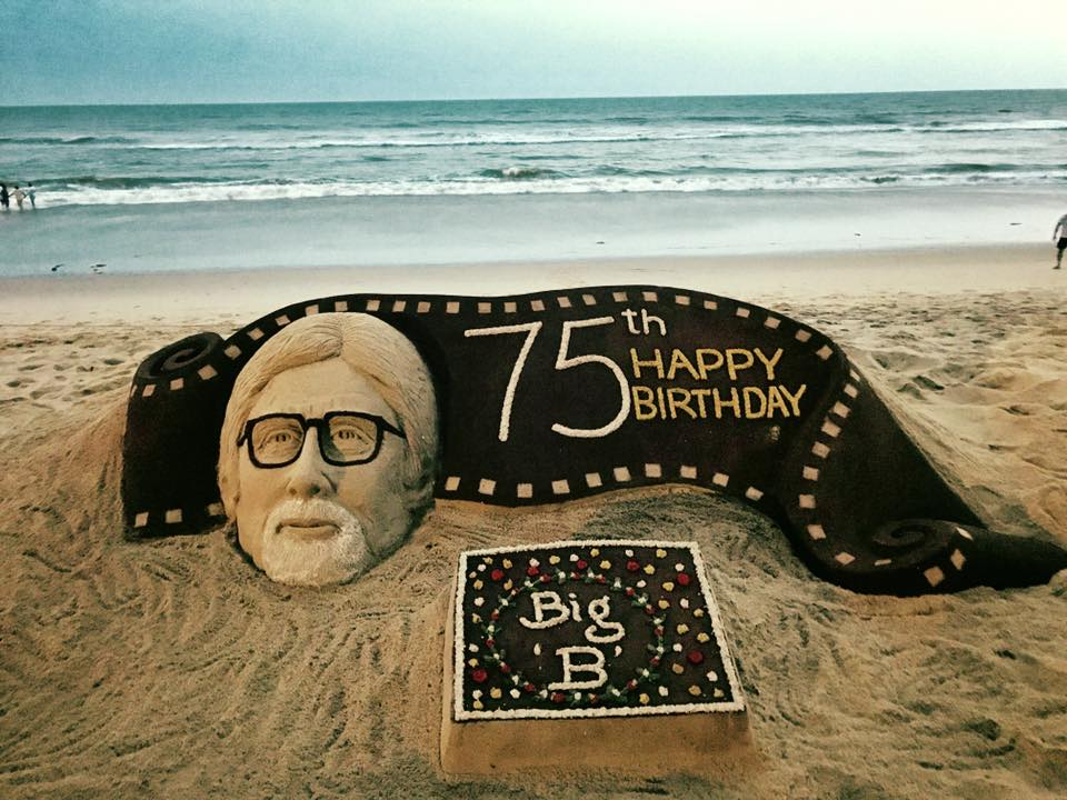 Sand sculptor created by renowned sand artist Sudarshan Pattnaik on Big B's birthday